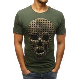 BASIC Pánské khaki tričko s lebkou (rx3208) Velikost: S