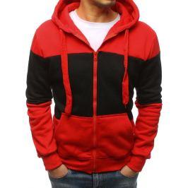 BASIC Pánská červená mikina na zip s kapucí (bx3857) Velikost: M