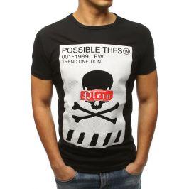 BASIC Černé tričko s potiskem lebky (rx3184) Velikost: S