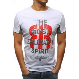 BASIC Pánské bílé tričko s potiskem (rx3185) Velikost: S