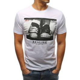 BASIC Bílé tričko s krátkým rukávem a potiskem (rx3326) Velikost: M