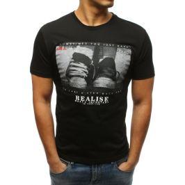 BASIC Černé tričko s krátkým rukávem a potiskem (rx3329) Velikost: XL