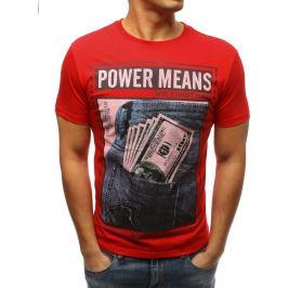 BASIC Červené pánské tričko s potiskem Power Means (rx3333) Velikost: M
