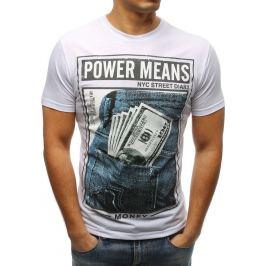 BASIC Bílé pánské tričko s potiskem Power Means (rx3335) Velikost: M