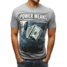 BASIC Šedé pánské tričko s potiskem Power Means (rx3336) Velikost: M