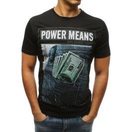 BASIC Černé pánské tričko s potiskem Power Means (rx3338) Velikost: M