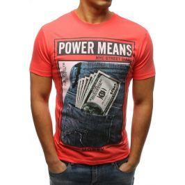 BASIC Oranžové pánské tričko s potiskem Power Means (rx3340) Velikost: M