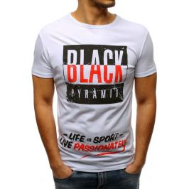 BASIC Bílé tričko s nápisem Black Pyramid (rx3258) Velikost: M