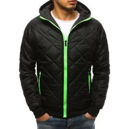 BASIC Černá prošívaná bunda se zeleným zipem (tx2596) Velikost: M
