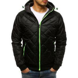 BASIC Černá prošívaná bunda se zeleným zipem (tx2598) Velikost: M