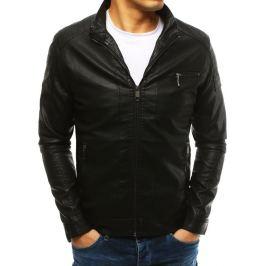 BASIC Černá pánská koženková bunda (tx2631) Velikost: S