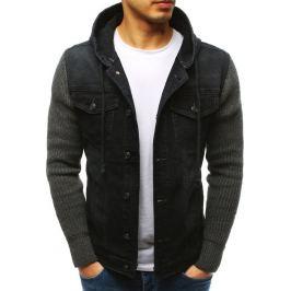 BASIC Černá džínová bunda s pletenými rukávy (tx2613) Velikost: S