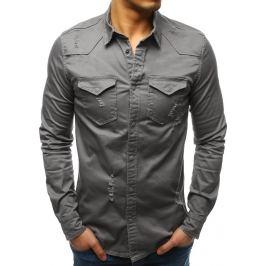 BASIC Šedá pánská košile (dx1723) Velikost: S