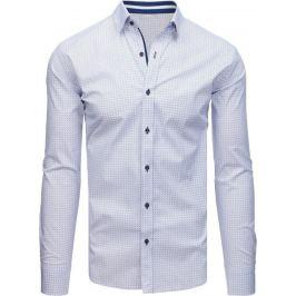 BASIC Bílá pánská košile se vzorem (dx1707) Velikost: L