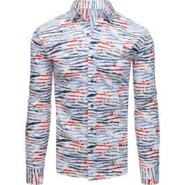 BASIC Bílá pánská košile se vzorem barevných pruhů(dx1709) Velikost: L