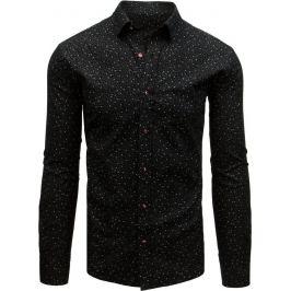 BASIC Černá pánská košile se vzorem (dx1710) Velikost: 2XL