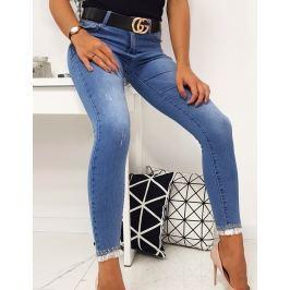 BASIC Modré džíny s krajkou na nohavicích  (uy0153) Velikost: XS