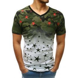 BASIC Bílé pánské tričko s potiskem hvězd (rx3406) Velikost: M
