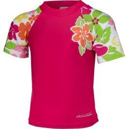 Růžové dětské AQUA-SPEED koupací tričko flower 2122 velikost: 104, odstíny barev: růžová