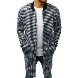 BASIC Pánský kabát s motivem kostek bílo tmavomodrých barev (cx0394) Velikost: XL