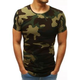 BASIC Pánské tričko hnědo-zelené (rx3423) Velikost: M