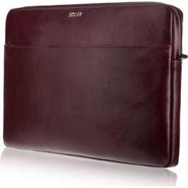 SOLIER Vínové kožené pouzdro pro notebook 15