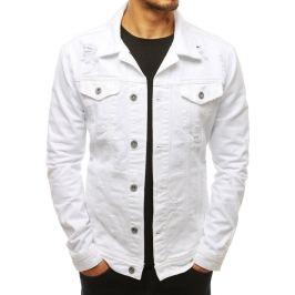 BASIC Pánská džínová bunda bílá (tx2679) Velikost: S