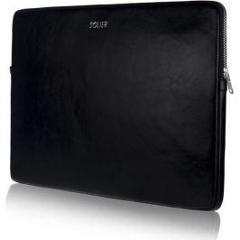 SOLIER Kožené černé pouzdro na notebook 13
