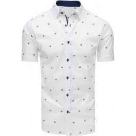 BASIC Bílá vzorovaná košile s krátkým rukávem (kx0899) Velikost: L