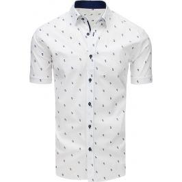 BASIC Bílá vzorovaná košile s krátkým rukávem (kx0900) Velikost: XL