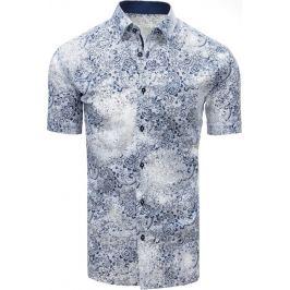 BASIC Bílá vzorovaná košile s krátkým rukávem (kx0901) Velikost: L