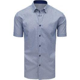 BASIC Modrá vzorovaná košile s krátkým rukávem (kx0904) Velikost: M