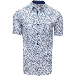 BASIC Bílá vzorovaná košile s krátkým rukávem (kx0905) Velikost: M
