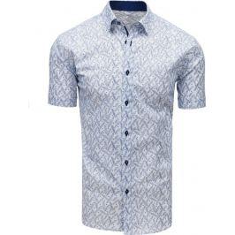 BASIC Bílá vzorovaná košile s krátkým rukávem (kx0906) Velikost: M