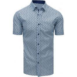 BASIC Světle modrá vzorovaná košile s krátkým rukávem (kx0908) Velikost: M