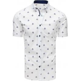 BASIC Bílá vzorovaná košile s krátkým rukávem (kx0911) Velikost: XL