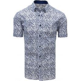 BASIC Bílo-modrá košile s krátkým rukávem (kx0913) Velikost: L