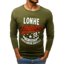 BASIC Pánské tričko s dlouhým rukávem zelené (lx0506) Velikost: M