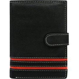 BASIC Černá kožená peněženka s červenými pruhy N4L-SGT Velikost: univerzální