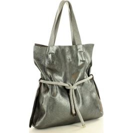 Stříbrná kožená kabelka VERA PELLE MARCO MAZZINI (s166e) Velikost: univerzální