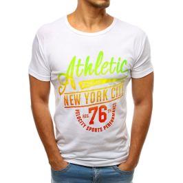 BASIC Bílé tričko s duhovým nápisem Athletic (rx3499) Velikost: M