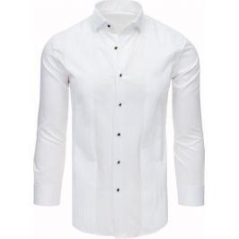 BASIC Bílá košile s žebrovanou strukturou (dx1743) Velikost: M