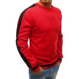 BASIC Pánská mikina s pruhy na ramenou - červená (bx3957) Velikost: M