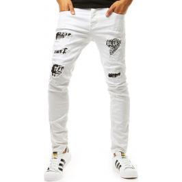 BASIC Bílé džíny s  nápisy (ux1964) Velikost: 29