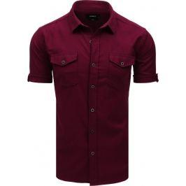 Basic košile s krátkým rukávem - bordó (kx0915) Velikost: M