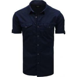 Basic košile s krátkým rukávem - granátově modrá (kx0917) Velikost: M