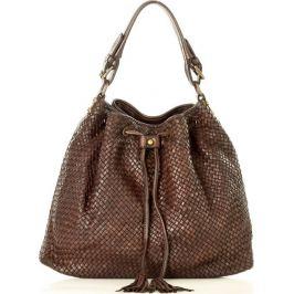 MARCO MAZZINI tmavě hnědá kožená kabelka (v25b) Velikost: univerzální