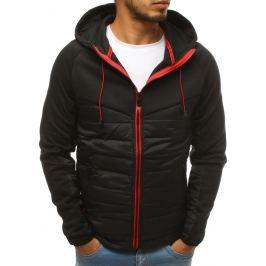 BASIC Černá pánská bunda se červeným zipem (tx2688) Velikost: M