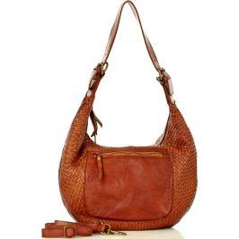 MARCO MAZZINI Hnědá kožená shopper kabelka (v37b) Velikost: univerzální