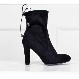 Černé stahovací kotníkové boty - E4873 velikost: 36, odstíny barev: černá